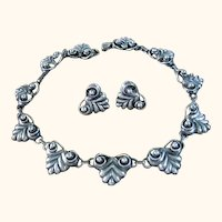 Taxco Mexico Sterling Silver 925 Signed Villasana Necklace & Earrings SET