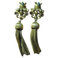 Crown & Tassel Clips Earrings Vintage Signed Florenza