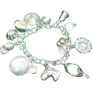 Sterling Silver 925 Bracelet & 14 Western Horse Theme Charms
