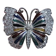 Vintage Sparkling,Colorful Enamel & Rhinestone Butterfly Brooch/Pin Silver Tone