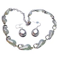 Vintage 925 Sterling Silver Set  Filigree Necklace & Pierced Earrings Signed Beau