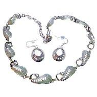 Vintage 925 Sterling Silver Set  Filigree Necklace & Pierced Earrings Signed Beau