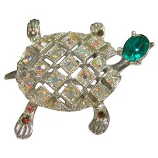 Signed Ora Vintage Exquisite Rhinestone Turtle Pin/Brooch