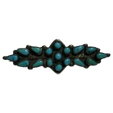 Pin Dainty Native American Zuni Needlepoint Turquoise & 925 Sterling Silver