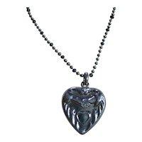 Sterling Silver 925 Older Vintage Heart & Hands Pendant/Necklace