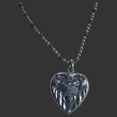 Sterling Silver 925 Old Vintage Heart & Hands Pendant/Necklace