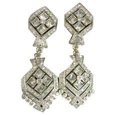 Heidi Daus Showy Dangle Grey Crystals & Brass Clip-On Earrings