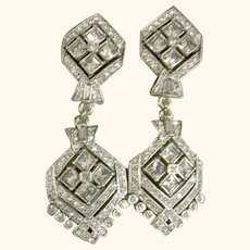Heidi Daus Showy Dressy Dangle Grey Crystals Clip-On Earrings