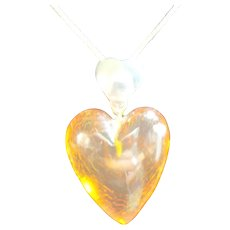 Amber Carved Heart Sterling 925 Silver Pendant / Necklace