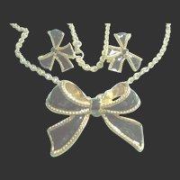KJL Kenneth J. Lane Black Enamel Bow Necklace & Clip-On Earrings Set