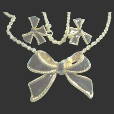 KJL Kenneth J. Lane Black Enamel Bow Necklace & Clip-On Earrings Set