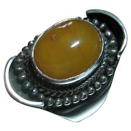 Vintage Mod Sterling Silver 925 Baltic Egg Yolk Amber Ring Size 10