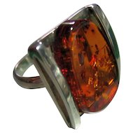 Ring Vintage Sterling Silver 925 Baltic Amber w/Bug Parts Size 8 1/2