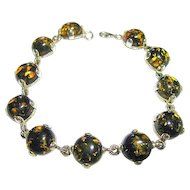 Vintage Green Amber Sterling Silver 925 Link Bracelet