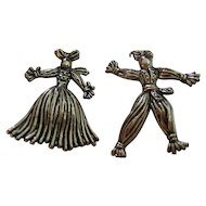 Vintage Rag Doll Scatter Pins Silver Tone