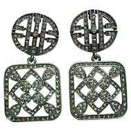 Vintage Heidi Daus Deco Style Swarovski Crystals Square Dangle Clips Earrings