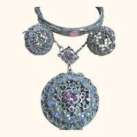 1928 Locket Pendant, Bracelet & Earrings SET Blue & Purple