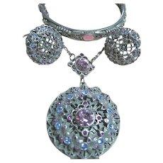 1928 Picture Locket, Bracelet & Earrings SET Blue & Purple