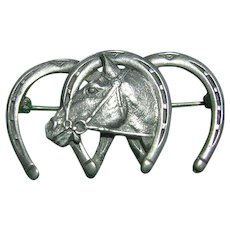 Vintage Sterling Silver 925 Horse & 3 Horse Shoes Brooch/Pin Unisex