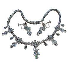 Vintage Dainty Rhinestone Necklace & Earrings Bridal Set