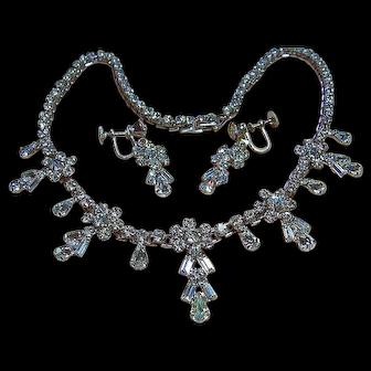 Vintage Dainty Clear Sparkling Rhinestone Necklace & Screw Earrings Bridal Set