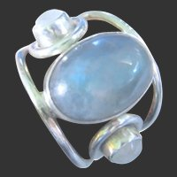 Unisex 7 ½ Showy Labradorite Hand  Crafted 925 Sterling Silver Ring