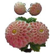Vintage Celluloid Dahlia Pink Flower Pin & Screw Back Earrings Set