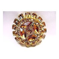 Vintage Signed Weiss Domed Topaz/Champagne Rhinestone Brooch/Pin