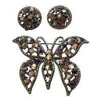 Weiss Vintage Aurum Gold Rhinestone Butterfly Brooch/Pin & Earrings Set