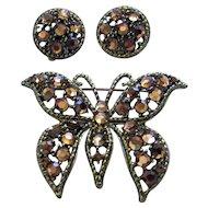 Weiss Vintage Aurum Gold Rhinestone Butterfly Brooch/Pin & Earrings Set
