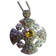 Vintage Ornate Jerusalem Cross Sterling Silver 925 Pendant/Necklace Cannetille & Citrine