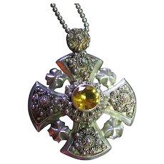 Vintage Ornate Jerusalem Cross Sterling Silver 925 Pendant/Necklace Citrine