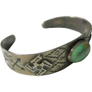 Silver Open Cuff Bracelet Rolling Log Native American Turquoise