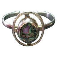 Sterling Silver 925 Bracelet Open Cuff Mexican Abalone