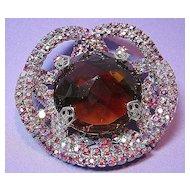 Brooch/Pin Vintage Glitzy  Flashing & Showy Facetted Art Glass, Red & Blue Aurora Borealis Rhinestone