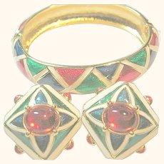 Joan Rivers Colorful Enamel Cuff Bracelet & Clips Earring Set