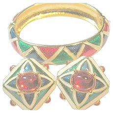 Joan Rivers Gorgeous Enamel Cuff Bracelet & Clips Earring Set