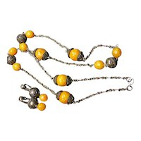Vintage Tribal Style Faux Amber Necklace & Clip Earrings Set