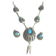 Necklace & Earrings Set  Sterling Silver 925 & Turquoise Vintage Native American  Bear Claw