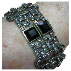 Heidi Daus Bracelet Art Deco Style Black Diamond Rhinestones