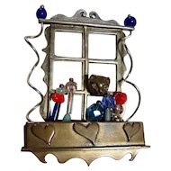 Designer Signed Quirky Figural Luna Parc Cat Brooch/Pin Whimsical Moving Handcrafted
