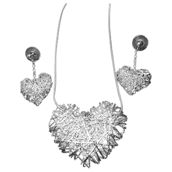 Sterling Silver 925 Big Fat & Airy Wire Heart Pendant Earrings Set