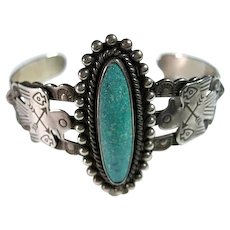 Native American Indian Sterling Silver & Turquoise Cuff Bracelet