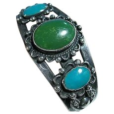 Native American Turquoise 925 Sterling Silver Cuff Bracelet