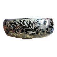 Stunning Niello Vintage Wide Open Cuff Bracelet Sterling Silver 925