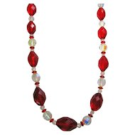 Vintage Long Beads Necklace Red Faceted & Aurora Borealis