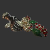 Vintage Black Hand & Red Flower Bouquet Brooch/Pin