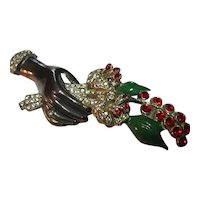 Vintage Black Hand & Red Flower Bouquet Brooch/Pin