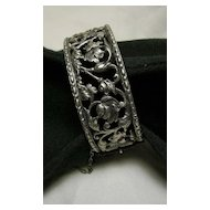 Signed Peruzzi Vintage Bracelet Size Small Sterling Silver 925 Ornate Cutwork Floral/Foliate