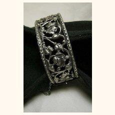 Signed Ornate Vintage Bracelet Small Sterling Silver 925